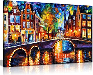 The Bridges of Amsterdam by Leonid Afremov Canvas Wall Art Picture Print for Home Decor (36x24)