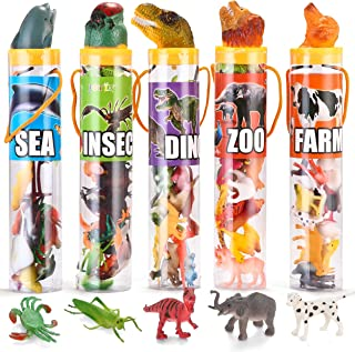 JOYIN 69 Pieces Natural World Animal Dinosaur Insect Sea Animal Farm Animal Figures Stocking Stuffer Mini Plastic Vinyl Assorted Figures Playset