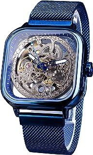 Forsining Transparent Skeleton Elegant Blue Design Automatic Self-Winding Mechanical Wrist Watch …