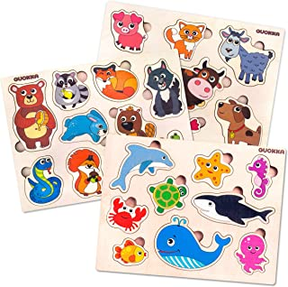 Quokka Wooden Puzzles for Toddlers 1 2 3 Year Olds - 3 Pack - Kids and Babies Matching Game for Learning Shapes Animals Sea Creatures Pets - Educational Wood Preschool Toys for Boys and Girls Ages 1-3