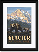 "Northwest Art Mall Glacier National Park Rockies Grizzly Bears Framed & Matted Art Print by Paul A. Lanquist. Print Size: 12"" x 18"" Framed Art Size: 18"" x 24"""