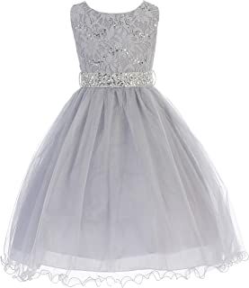 0a79c8a9815 Glitter Sequined Bodice Double Layer Tulle Rhinestone Easter Flower Girl  Dress