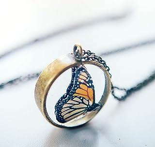 collana a farfalla monarca, regalo di natale per donna, gioielli in resina, ciondolo a forma di farfalla, gioielli a forma...