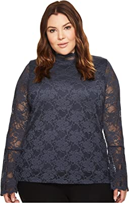 Vince Camuto Specialty Size - Plus Size Bell Sleeve Mock Neck Blouse