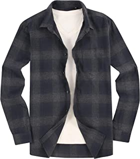 Monlando Mens Flannel Shirts Slim Fit Long Sleeve Casual Button Down Shirts
