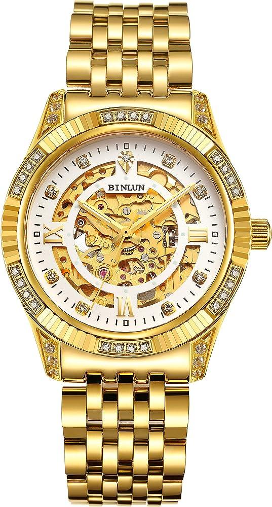 Orologio uomo donna   placcato oro 18 carati binlun BL0018G-SGW-GG
