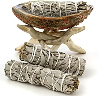 Premium Bundle with 5 Inch or Larger Abalone Shell, Natural Wooden Tripod Stand, and 3 California White Sage Smudge Sticks for Incense Burning, Home Fragrance, Energy Clearing, Yoga, Meditation