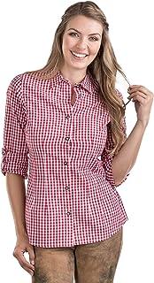 Schöneberger Trachten Couture Trachtenbluse Bergstern - Damen Trachtenhemd mit Krempelärmel kariert, tailliert und elegant – Trachten Bluse