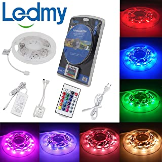 LEDMY RGB Led Strip Light Kit Super Bright DC12V 36W SMD5050 150LEDs IP20 Led Tape Light with Remote Control Power Supply 5Meter/ 16.4Feet Using for Homes, Kitchen Cabinet Lights and Bar Lighting