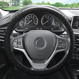FH Group FH3002 Silicone W. Nibs & Pattern (Massaging Grip) Wheel Cover, Black Color-Fit Most Car, Truck, SUV, or Van