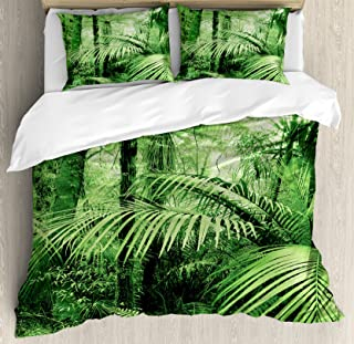 Ambesonne Rainforest Duvet Cover Set, Palm Trees and Exotic Plants in Tropical Jungle Wild Nature Theme Illustration, Decorative 3 Piece Bedding Set with 2 Pillow Shams, Queen Size, Green