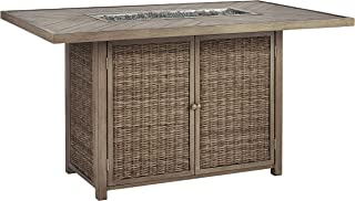 Signature Design by Ashley P791-665 Beachcroft RECT Bar Table w/Fire Pit, Light Gray