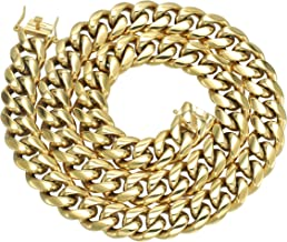 GOLD IDEA JEWELRY Hip Hop 14K Cuban Link Chain 5 Times Real Gold Plated Heavy Solid 8mm-18mm Miami Cuban Link Chain Stainless Steel Necklace/Bracelet for Men