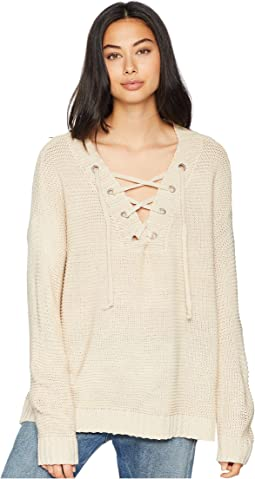 Hey Ms. Carter Rib Stitch Lace-Front Sweater