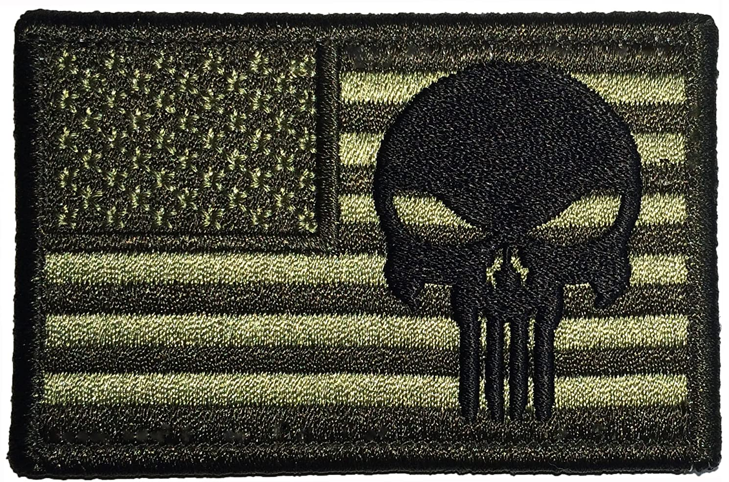American USA Flag with Skull Sew on Iron on Embroidered Applique Patch 2