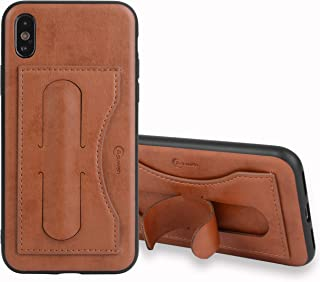 iPhone X XS 10 10S Case i Phone Cases Wallet Leather with Credit Card Holder Slot and Tempered Glass Screen Protector Stand Protective Cover for Apple Ten SX 10xs 10sx ix ixs i10 i10s 5.8 inch Brown