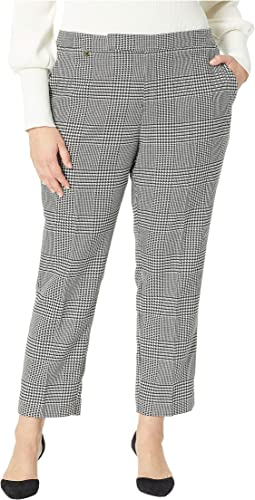 Plus Size Glen Plaid Cotton-Blend Pants