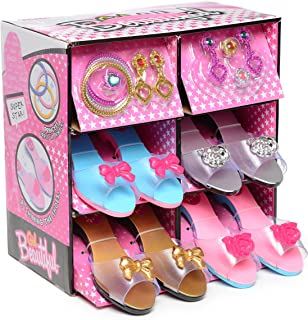 Fashionista Girl Princess Dress Up and Role Play Collection Shoe set and Jewelry Boutique (12 Piece Dress up Set) Ages 3-10