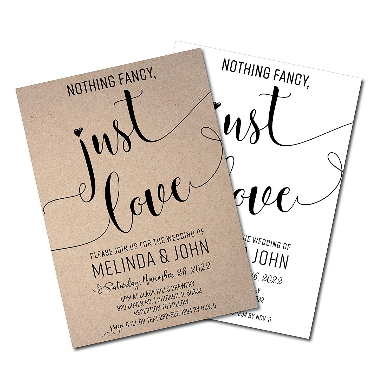 Nothing Fancy Just Credence Don't miss the campaign Love Modern Black Invitation Wedding and