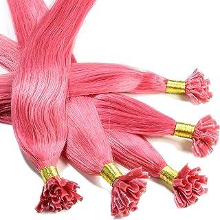 "Hair2Heart 150 x 0,5g pre-bonded U-tip strands - 12"", colour #pink, straight"