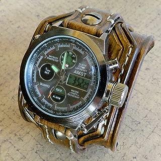 Digital leather watch, Leather Cuff, Wrist Watch, Brown leather watch, Men's Leather Cuff, Bracelet Watch, Wide Watch Cuff,