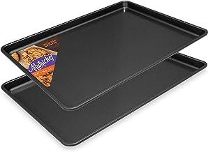Nonstick Cookie Sheet Baking Pan – 2PC Large Metal Oven Baking Tray Mega Pan Kitchen Cooking Non-Stick Bake Trays – Stylish Metallic Black Coating PFOA PFOS PTFE Free – NutriChef NCLGBP16