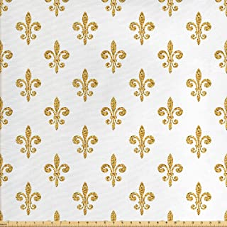 Ambesonne Fleur De Lis Fabric by The Yard, Vintage European Lily Aristocratic Dignified Majesty Print, Decorative Fabric for Upholstery and Home Accents, 1 Yard, Yellow White