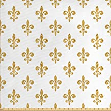 Ambesonne Fleur De Lis Fabric by The Yard, Vintage European Lily Aristocratic Dignified Majesty Print, Decorative Fabric for Upholstery and Home Accents, 2 Yards, Yellow White