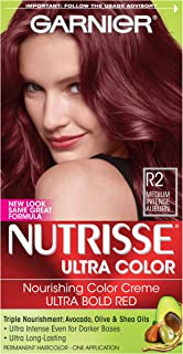 Garnier Nutrisse Ultra Color Nourishing Permanent Hair Color Cream,  R2 Medium Intense Auburn (1 Kit) Red Hair Dye (Packaging May Vary),  Pack of 1