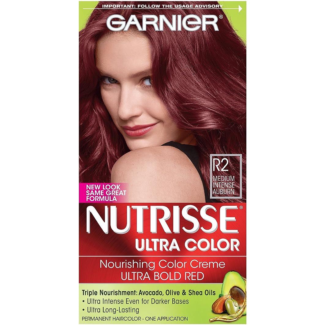 Garnier Nutrisse Ultra Color Nourishing Permanent Hair Color Cream, R2 Medium Intense Auburn (1 Kit) Red Hair Dye (Packaging May Vary)