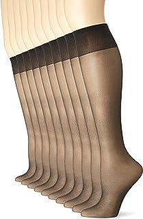 No Nonsense Women's Sheer Toe Comfort Top Knee Highs, Plus Size, 8 Pair Pack
