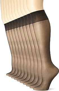 Women's Sheer Toe Comfort Top Knee Highs, Plus Size, 8 Pair Pack