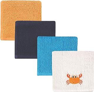 Luvable Friends 4-Piece Super-Soft Washcloths, Crab, 10''x10''