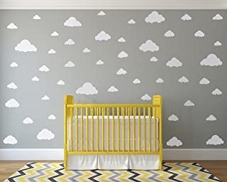 White Clouds Sky Wall Decals - Easy Peel + Stick 50 Clouds Pack - Kids Playroom Nursery Sky Baby Boy Girl - Vinyl Sticker Art Large Decoration Graphic Decor Mural