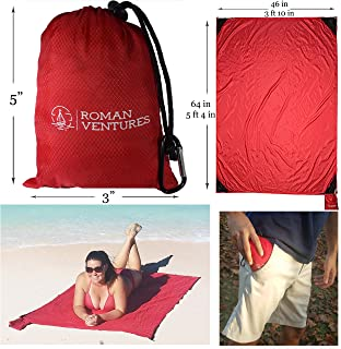 OVERSIZED Beach Blanket (10'x 9') AND Compact Outdoor Pocket Blanket COMBO PACK. Premium Ripstop Nylon Outdoor Blanket. Repels Sand And Moisture. Great For Beach, Parks, Picnics, Hiking