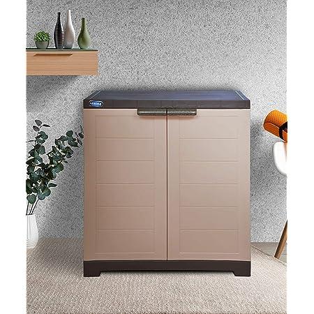 Alfa 1 Plastic Cabinet for Storage | Space Organizer | Shelves | Cupboard | Living Room | Kids | Multipurpose for Home Kitchen & Officeby Prima Camel & Brown Color