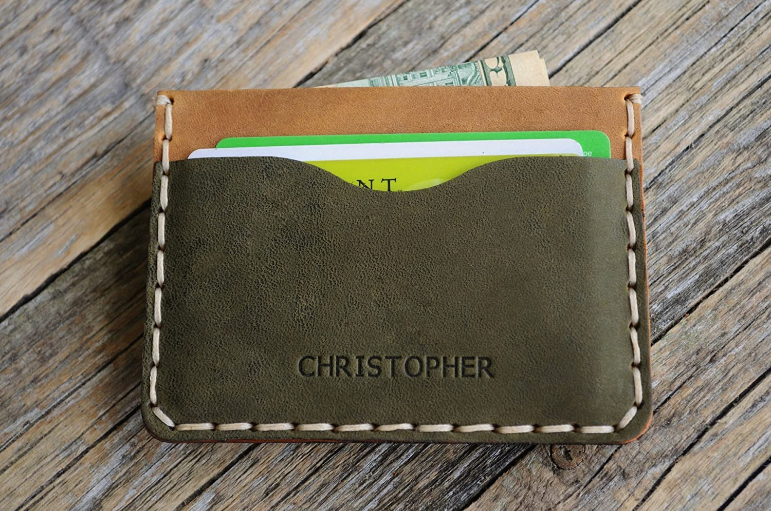 PERSONALIZED Leather Green and Brown Gifts New color Card Wallet. C Credit Case