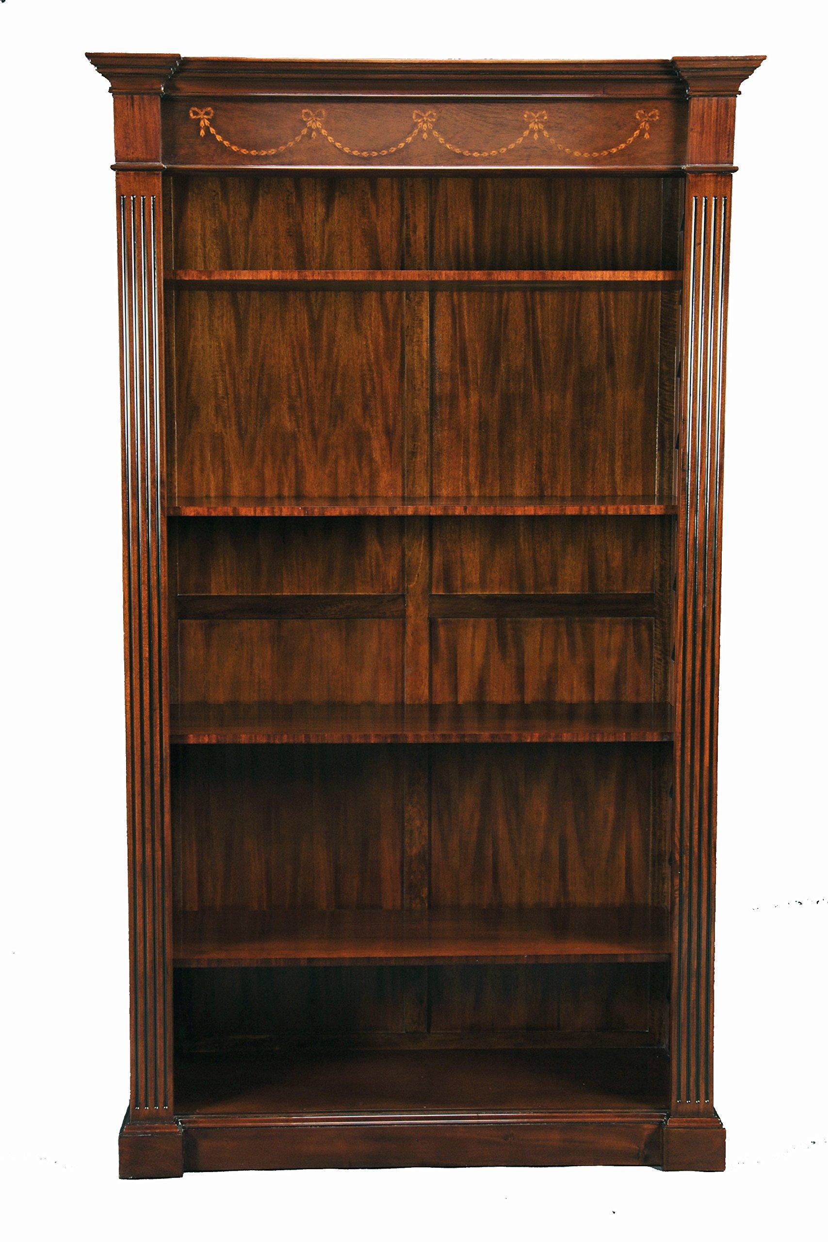 Large Mahogany Wood Open Bookcase