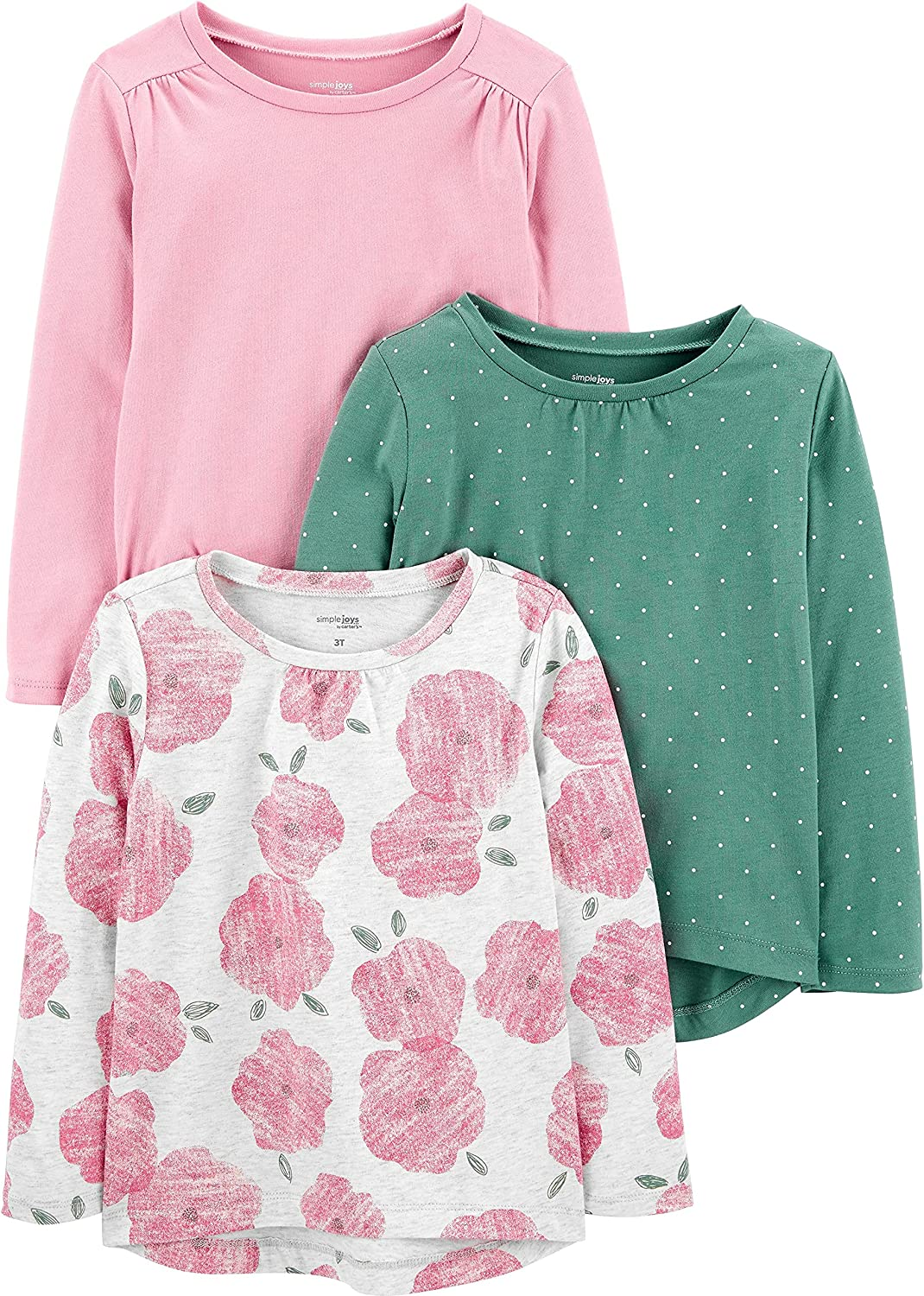 Simple Joys by Carter's Baby and Toddler Girls' 3-Pack Long-Sleeve Tops
