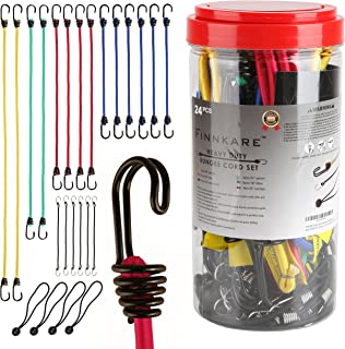 FINNKARE 24 Piece Set Bungee Cord Assortment, Premium Heavy Duty Industrial Quality, 100% Latex Bungee Core, Dual-Wire Extra Strong Hooks, include 40