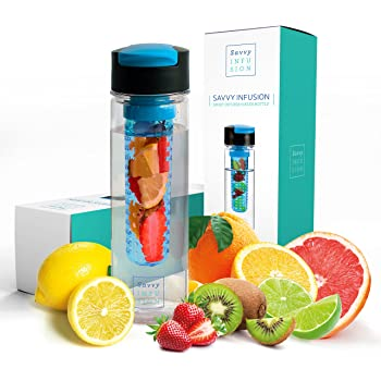 Savvy Infusion Flip Top Fruit Infuser Water Bottle - 24 Ounce - Unique Leak Proof Lid - Great Gift