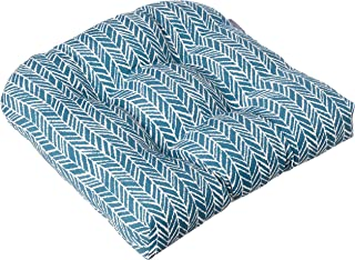 """Pillow Perfect Outdoor/Indoor Herringbone Ink Tufted Seat Cushions (Round Back), 19"""" x 19"""", Blue, 2 Count"""