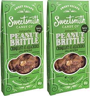 Sweetsmith Candy Co. Jalapeno Peanut Brittle – Handmade, Gluten-Free, Egg-Free, Soy-Free, Vegan and Dairy-Free (Jalapeno, 2 Pack)