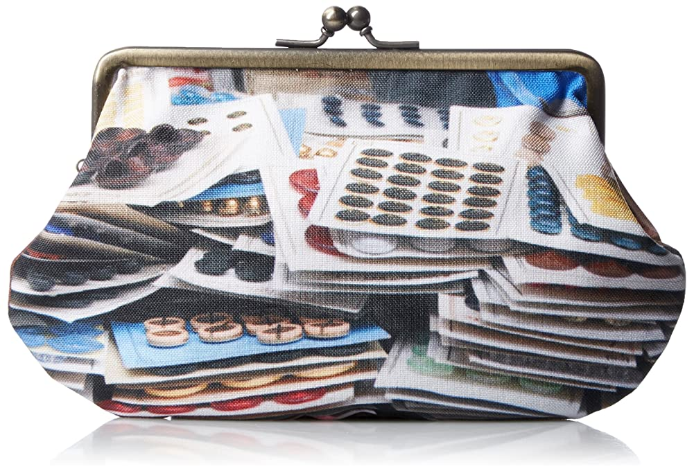 有望プロテスタント小包[マロン ブイー] がま口ポーチ 蚤の市コレクション ボタン brpb004