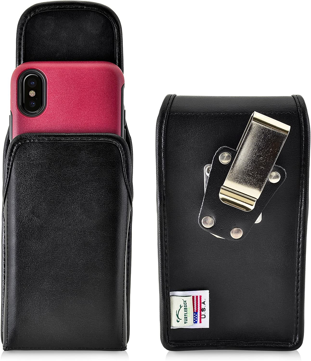 Turtleback Belt Case Compatible with iPhone 11 Pro, XS & X w/OB Commuter Symmetry case Black Vertical Holster Leather Pouch with Heavy Duty Rotating Ratcheting Belt Clip Made in USA