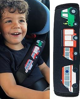 HECKBO - 1x Auto Gurtschutz mit Feuerwehr, Traktor, Krankenwagen Motiv - für Kinder, Jungen, Jungs - Sicherheitsgurt Schulterpolster Schulterkissen Autositze Gurtpolster - auch für Fahrrad-Sitze