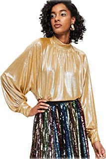 Women's Long Raglan Flounce Sleeve Oversized Sparkle Metallic Blouse Tee Top