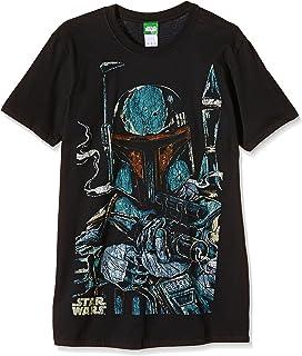 Star Wars Boba Fett Hombre Camiseta Negro, Vintage Regular