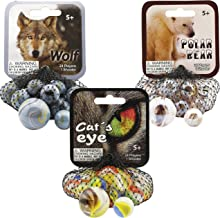 Mega Marbles 3 Pack - Wolf, Cat's Eye, Polar Bear Game Nets - Includes 1 Shooter Marble & 24 Player Marbles Per Net