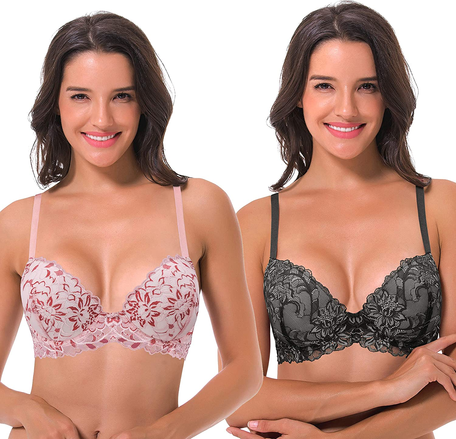 Curve Muse Women's Underwire Plus Size Push Up Add 1 and a Half Cup Lace Bras